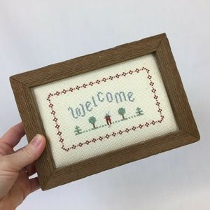 Vintage Wall Art - Vintage Cross Stitch Welcome Sign Framed Rustic